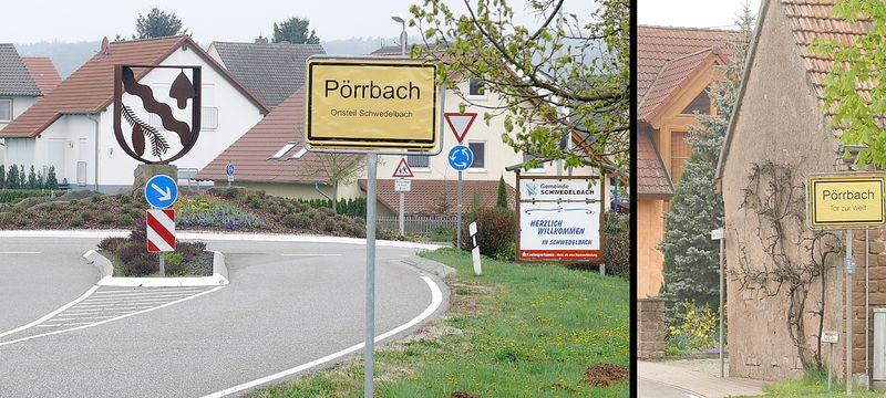 Ortsschild Pörrbach-Schwedelbach